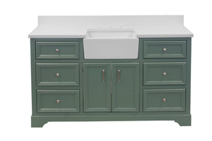 Zelda 60-inch Single Farmhouse Vanity with Quartz Top