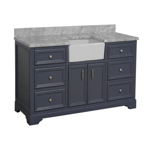 Zelda 60-inch Single Farmhouse Vanity with Carrara Marble Top
