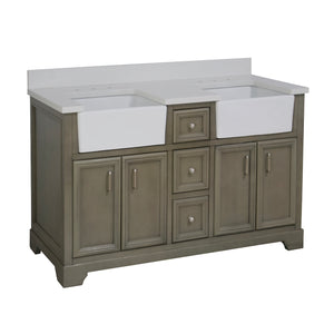 Zelda 60-inch Double Farmhouse Vanity with Quartz Top