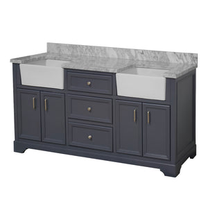 Zelda 72-inch Farmhouse Double Vanity with Carrara Marble Top