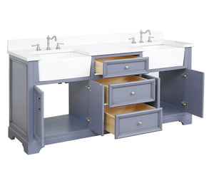 Zelda 72-inch Farmhouse Double Vanity (Quartz)