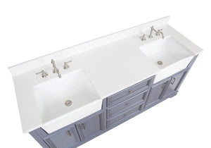 Zelda 72-inch Farmhouse Double Vanity with Quartz Top