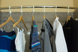 Anti Theft Hotel Hanger - Clothes hanging in bathroom shower with the CovertAHanger
