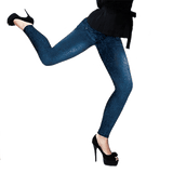 Slim Fit Denim Leggings - Sort el. Blå - SelvsiddendeBHer.dk - 1