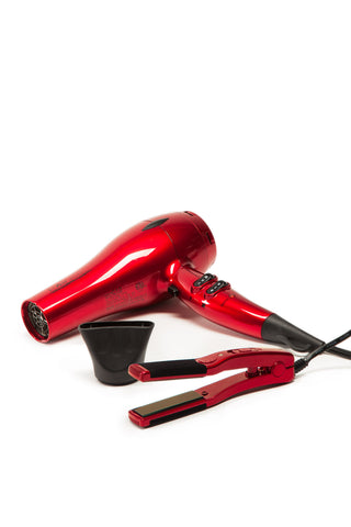 i-Air Elite DC Dryer RED COMBO with Mini Travel Size Flat Iron - Piano Red (GM1601-PR) Ultra Light Pro - 0.9 lb,  1875 Watt - Professional Hair Styling Products & Tools | GMJ Beauty Boutique
