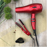 i-Air Elite DC Dryer RED COMBO with Mini Travel Size Flat Iron - Piano Red (GM1601-PR) Ultra Light Pro - 0.9 lb,  1875 Watt