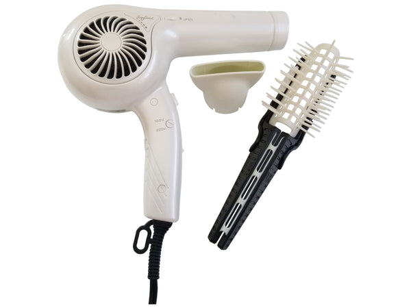 INTERNATIONAL TRAVEL STYLING KIT- PROFESSIONAL DUAL VOLTAGE IONIC HAIR DRYER JAPAN MADE WITH MULTI FUNCTIONAL HAIR STYLING BRUSH