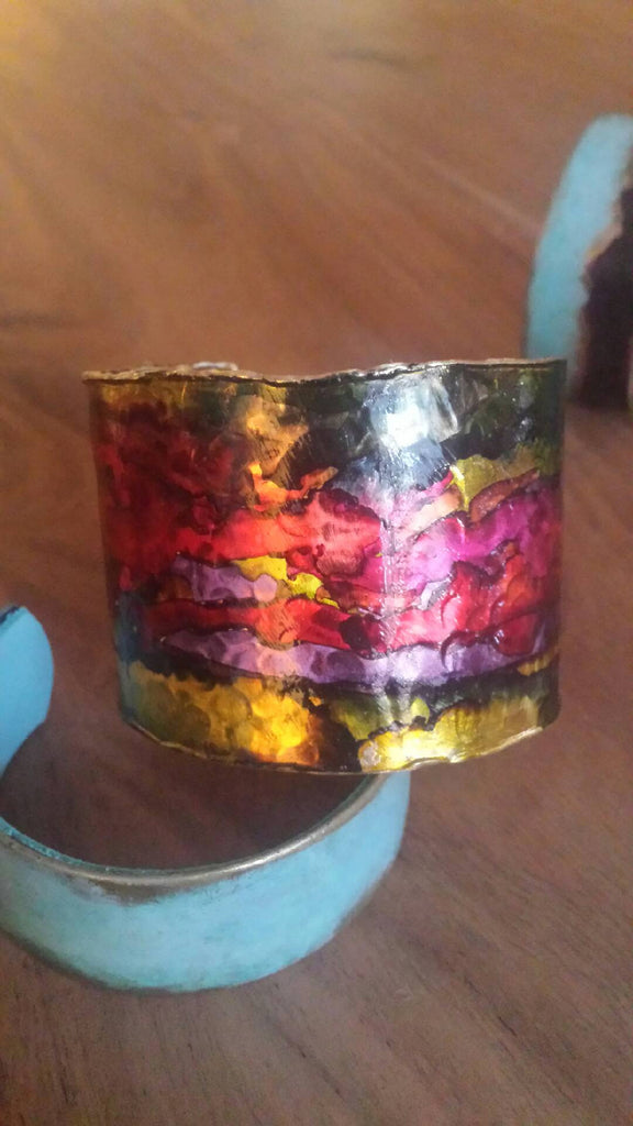 Multi-colored - Hammered Edge Cuff Bracelet