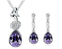 Crystal Clear Simplicity Necklace + Earrings Set in White / Clear or Purple