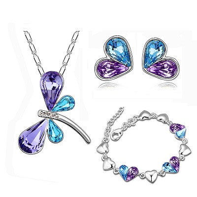 Crystal Free as a Butterfly Necklace + Bracelet + Earrings Set