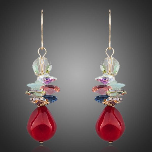 Earrings - Everything Goes with Red Wine Crystal Drop Earrings