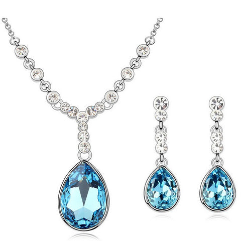 Crystal Drop Dead Gorgeous Necklace + Earrings Set - Deep Sea Blue