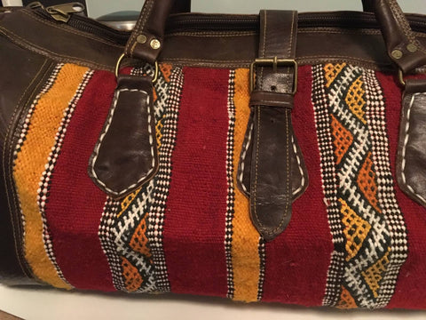 Kilim Travel / Weekend Bag (Gold & Red Stripe)