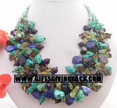 Lapis - Turquoise - Amethyst Necklace