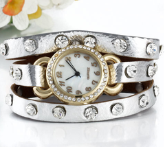 Watch - My Favourite Watch - Gold Tone with Rhinestones,  3 Straps in One