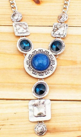 Silver, Crystal + Blue Gem Necklace