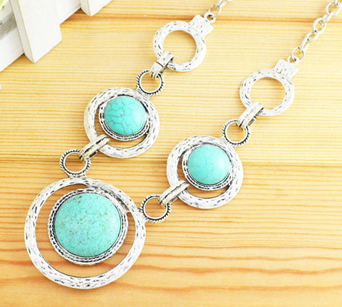 Turquoise - Circle the Moon Necklace
