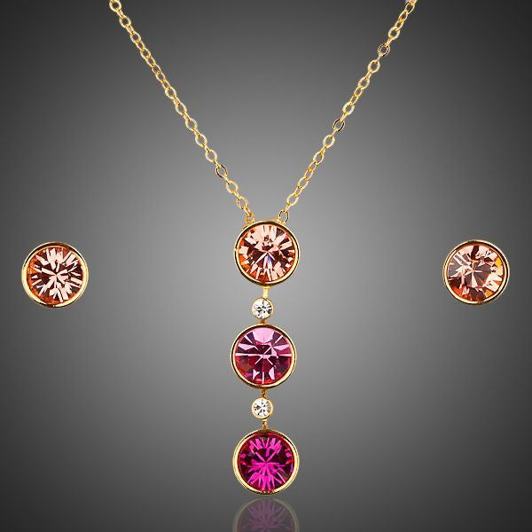 3 Shades of Pink Crystal Drop Necklace + Earrings Set