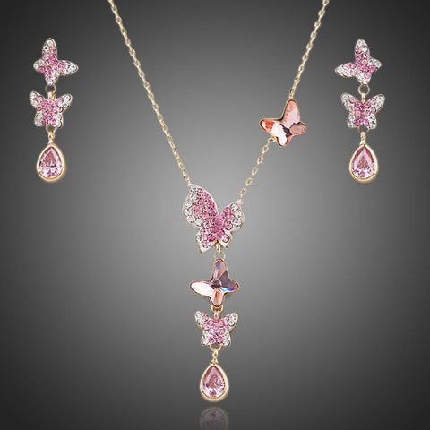 Austrian Crystal Pink Butterflies Necklace + Earrings Set