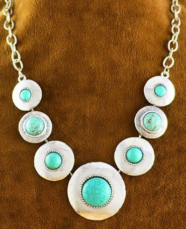 Turquoise - 7 Circles Necklace
