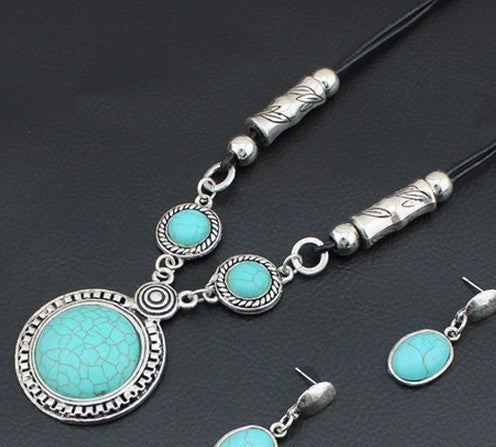 Turquoise Circles and Posts Leather Necklace