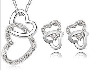 Crystal Bound by Love Necklace + Earrings Set