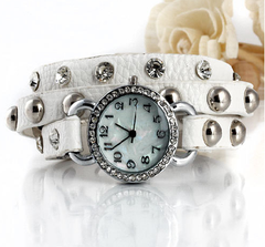 Watch - Wrapped up in Time - White Wrap Watch with Rhinestones and Studs