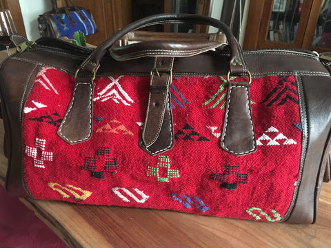 Kilim Travel / Weekend Bag (Red pattern)