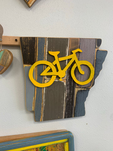 Woodworx Workshop Yellow Bike art