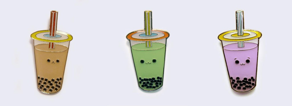 Milk Tea, Green Tea, and Taro Boba Pins