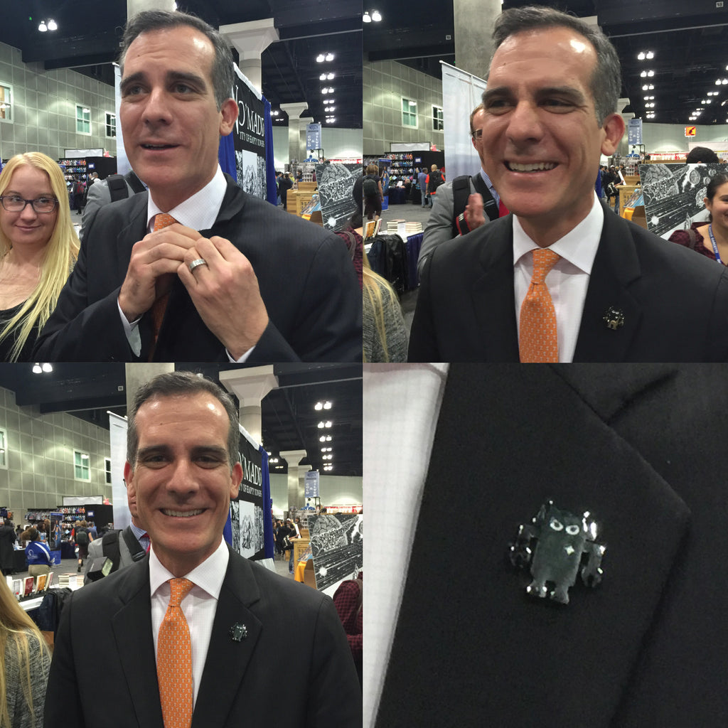 Eric Garcetti and the Big Boss Robot Pin