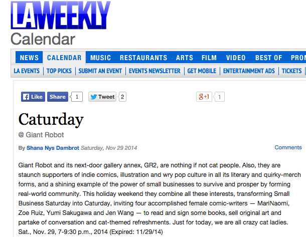 LA Weekly Small Business Caturday at GR2 Tomorrow