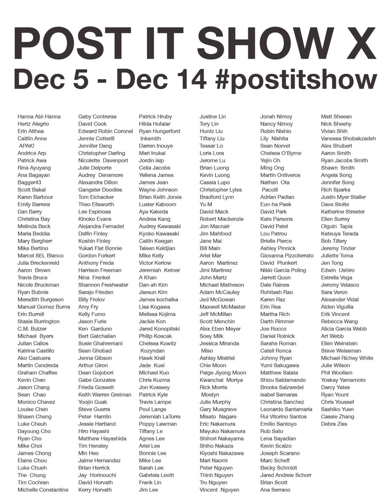 Post It Show X Artist List