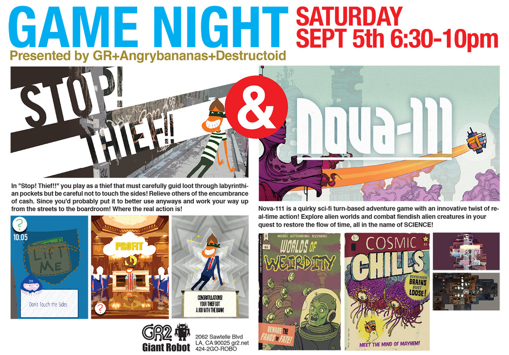 GR2: Game Night: Stop! Thief!! and Nova-111 Sat Sept 5th 6:30-10pm