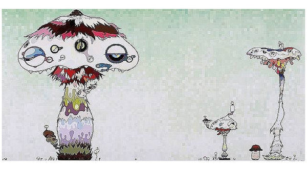 "Takashi Murakami - Hypha will cover the world, little by little. ""We should be able to get our hands on that door to the alien world soon. Wait til we get there!"