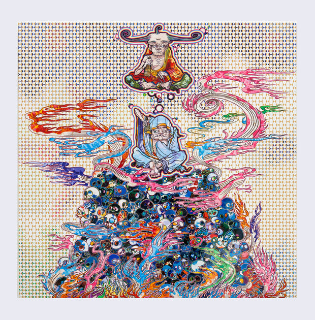 Takashi Murakami - 2 Arhats Meditating Amid the Hellfire of the Mound of the Dead