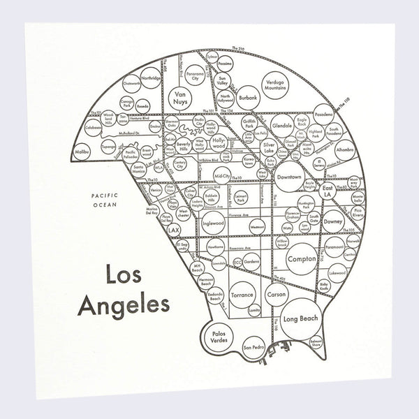 Archie's Press - Circle City Map Letterpress Print (Los Angeles)