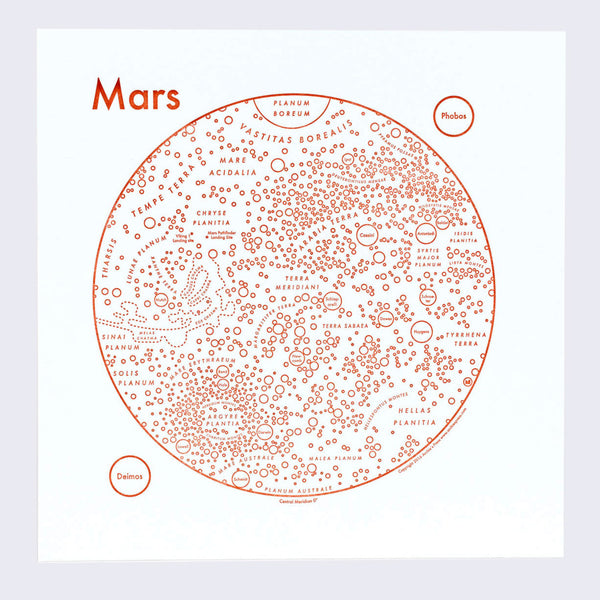 Copy of Archie's Press - Circle Map of the Mars Letterpress Print