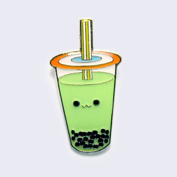 Giant Robot - Boba Bubble Tea Enamel Pin (Green Tea)