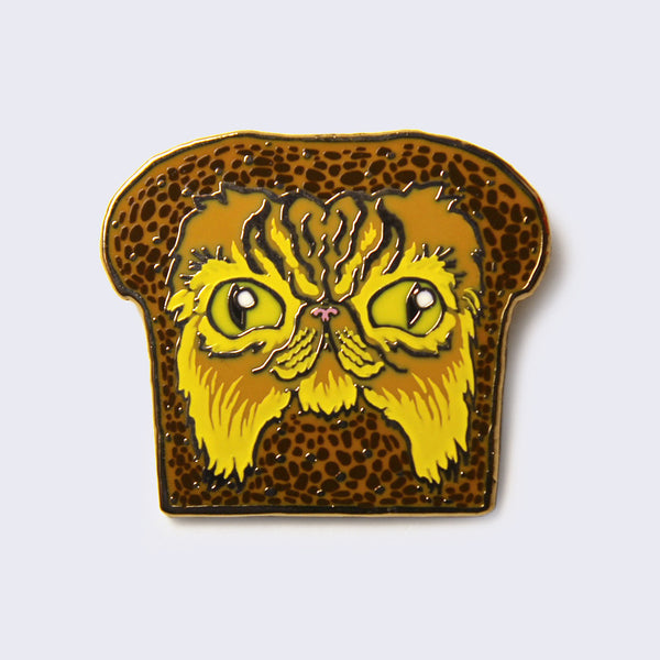 Kernel Turd - In-Bread Cat Enamel Pin (Orange Longhair)