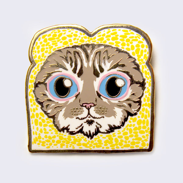 Kernel Turd - In-Bread Cat Enamel Pin (Gray Tabby)