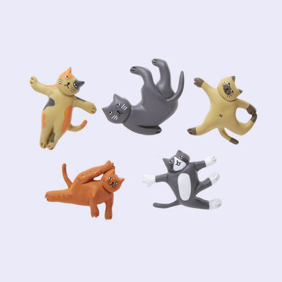 Cat Yoga Magnets Set