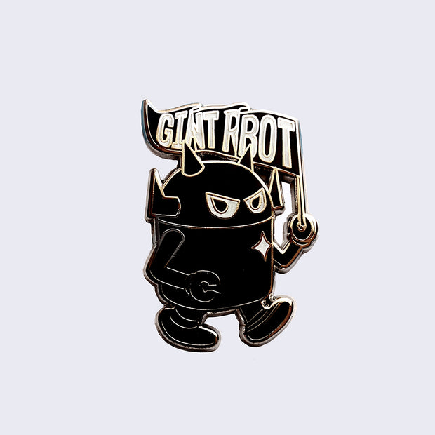 Giant Robot - Big Boss Walking with Flag Enamel Pin