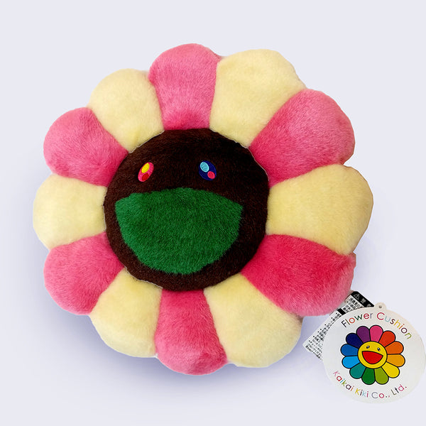 Takashi Murakami - Brown (pink and ivory) Flower Cushion (12 inches)