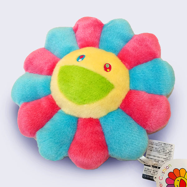 Takashi Murakami - Yellow (pink and blue) Flower Cushion (12 inches)