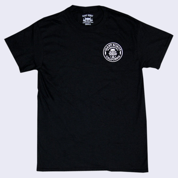 Giant Robot - Circle Motto T-shirt (White on Black)