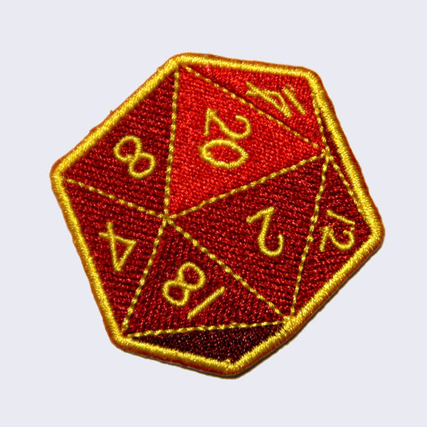 Giant Robot - Twenty-Sided Die (D20) Embroidered Patch