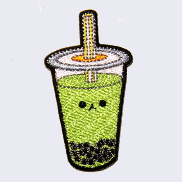 Giant Robot - Boba Bubble Tea Embroidered Patch (Green Tea)