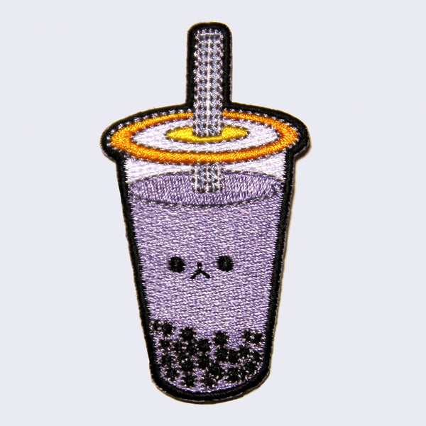 Giant Robot - Boba Bubble Tea Embroidered Patch (Purple Taro Tea)