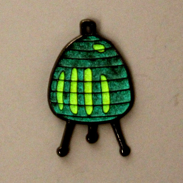 Giant Robot - Mid Century Japanese Table Lamp Enamel Pin (Glow-in-the-Dark)
